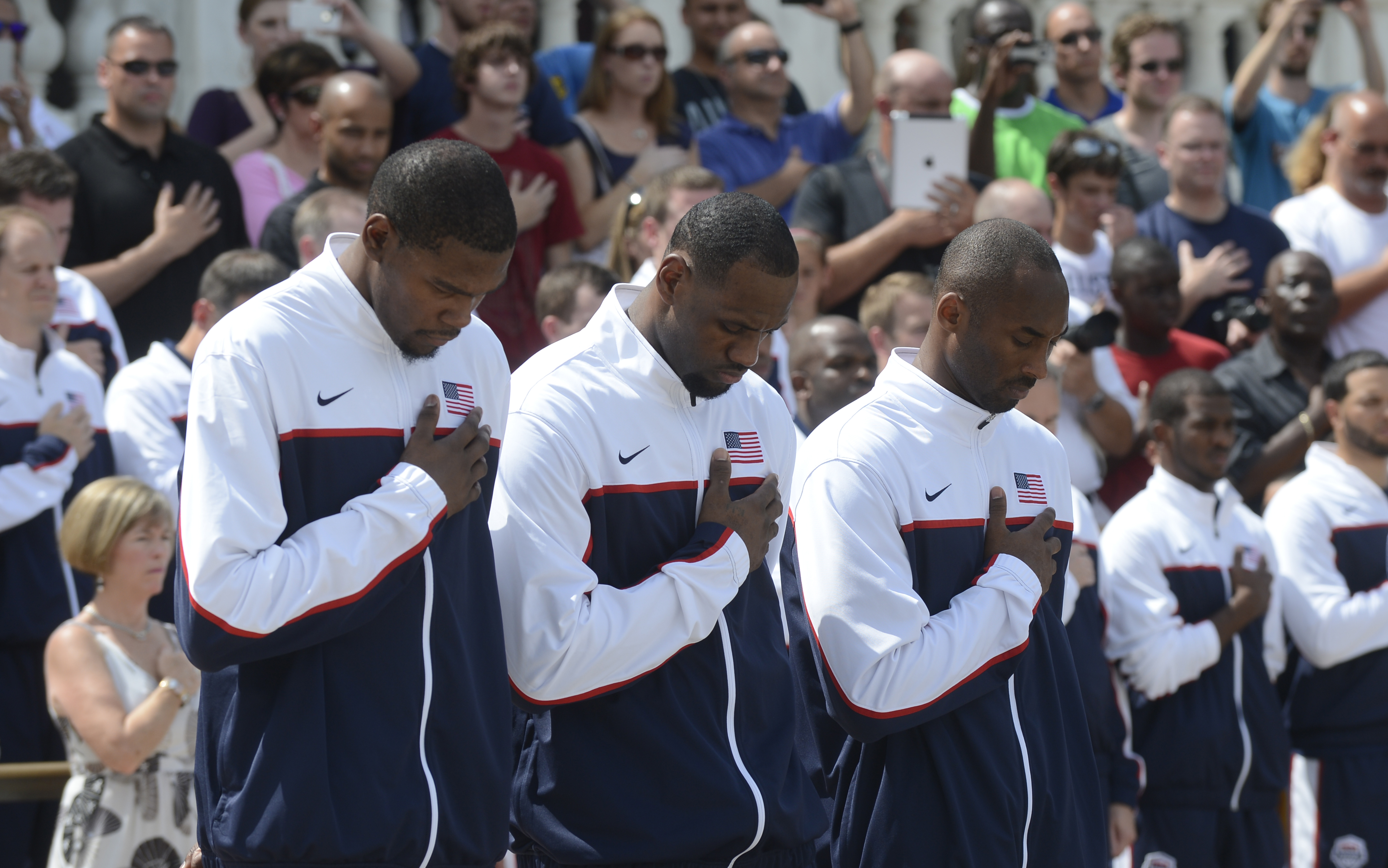 Kevin Durant, Lebron James and Kobe Bryant render honors at the of the Tomb of the Unknown Solider in Arlington National Cemetery, Ft. Myer, Va, Jul. 15, 2012.   DOD photo by D. Myles Cullen